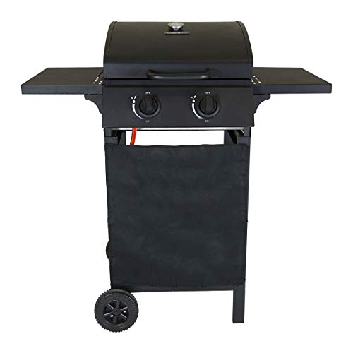 Charles Bentley Auto Ignition 2 Burner Gas BBQ Grill Steel Barbecue with Removable Drip Tray in Black