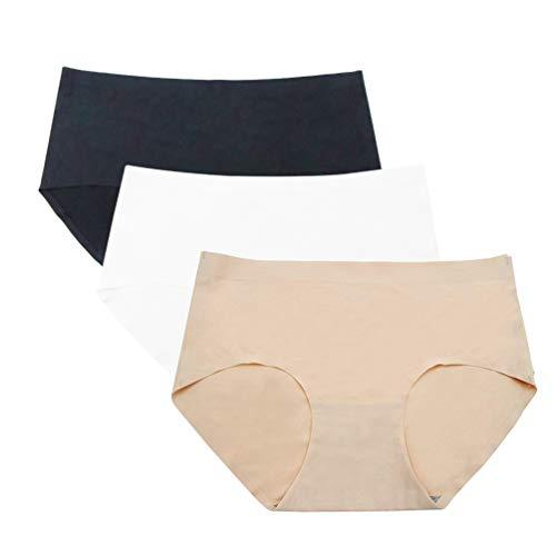 HanDingSM Damen Unterhosen Slips Panty Hipster Set, 3Pack Damen Unterwäsche Nahtlos Bequem Atmungsaktive Frauen Panties Hipster (sch/Haut/weiß, EU-L (Tag Size:2XL)) -