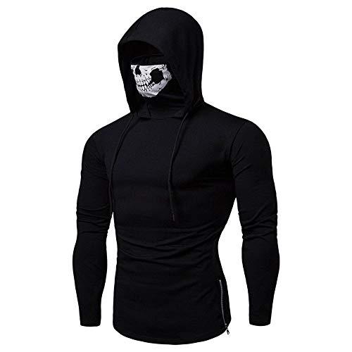Maske Reaper Kostüm Grim Mit - XiAOGUI Gr.XL Halloween Horreur Démon Grim Reaper Kostüm Herren Skelett Druck Pullover Tops Mantel Maske Baumwolle mit Kapuze