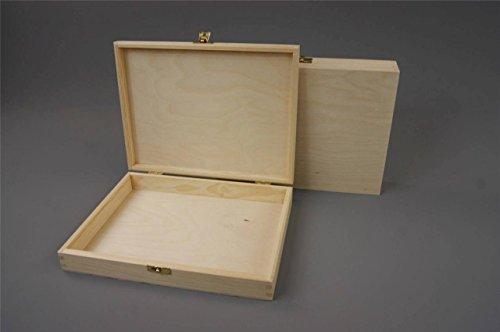 Holz hölzerner Kasten Schatulle Kisten Box Kästchen unbemalt und einfach - sehr schön! Decoupage! Handwerk (P27 box) (Kisten Handwerk Holz)
