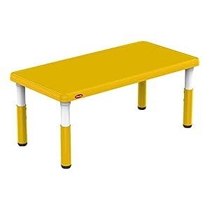 Bieco 04000121 – Kindertisch gelb, höhenverstellbar, Tischplatte, ca. 120 x 60 x 8 cm