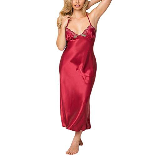 MERICAL Damen Dessous Spitze Babydoll Damen unterwäsche Sleepskirt Satin Spitze langes Kleid(XXXL,Rot)