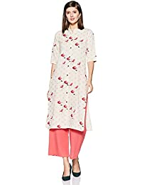 Appirant Women's Cotton Front Slit Kurta with Palazzo Set (Off White-Pink)