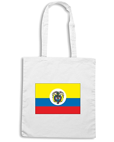 T-Shirtshock - Borsa Shopping TM0181 Colombia flag Bianco