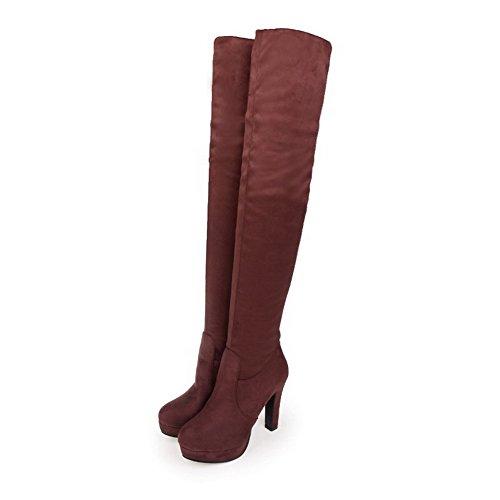AgooLar Damen Rund Zehe Hoch-Spitze Blend-Materialien Hoher Absatz Stiefel Braun
