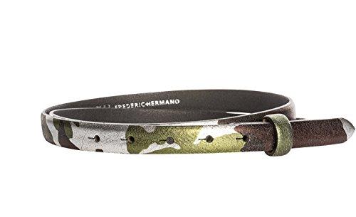 Frosted Grass (Gürtel Leder 20mm Silber Camouflage - Gürtelriemen Aus Rindsleder In 2 CM Breite - Ledergürtel Aus Echt Leder Ohne Schnalle - Gürtellänge 85cm)