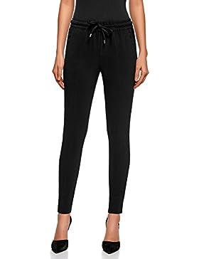 oodji Ultra Mujer Pantalones con Cinturón Elástico con Inserciones de Encaje