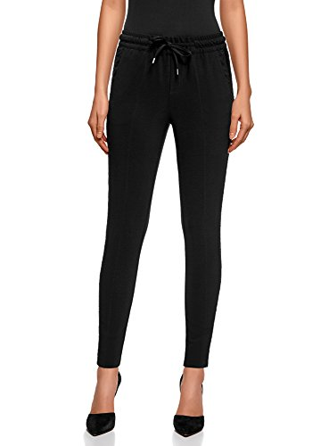 oodji Ultra Mujer Pantalones con Cinturón Elástico con Inserciones de Encaje, Negro, ES 36 / XS
