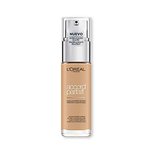 L'Oréal Paris Fondotinta Accord Parfait, Effetto Naturale, con Acido Ialuronico 3.D/3.W Beige Doré/Golden Beige