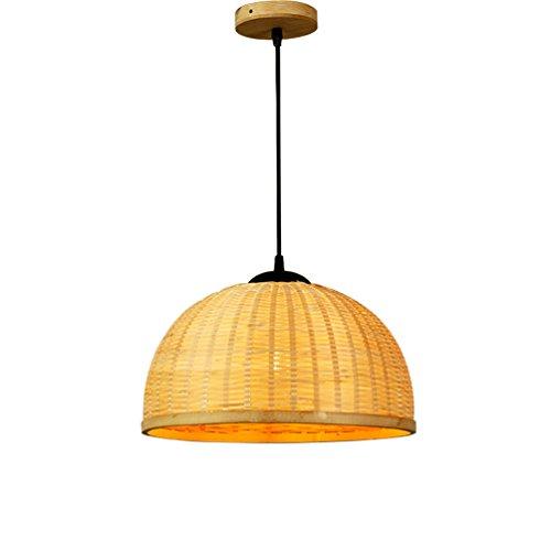 ZWD Lustre en rotin, restaurant de lustre en bambou allume la lampe de table simple de tête Salle à manger ingénierie lustre E27, 35 / 50CM accrochant le fil 150cm Luminaire (taille : 50 * 35CM)
