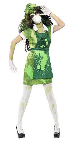 Smiffys, Damen Biogefahr Kostüm, Kleid, Schürze, Mütze, Maske und Handschuhe, Größe: S, 40055