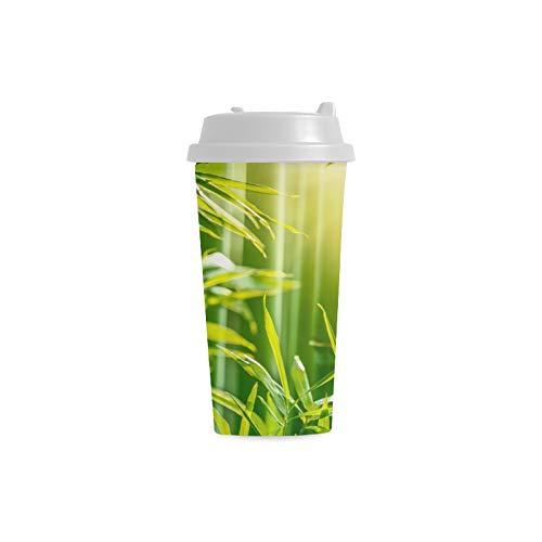 Bambuswaldgrün verlässt kundenspezifisch personalisierter Druck 16 Unze doppelwandiger Plastikisolierte Sportwasser Flaschen Schalen Pendler Reise Kaffeetassen für Studenten Frauen Milch Teetasse