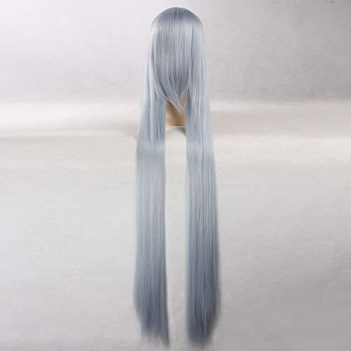 HOOLAZA Grau-Blau-Mix extralange gerade Perücke ohne Sode Shirayuki Weißer Schnee Suigintou Mercury Lampe Warugiria Yagokoro Eirin für die Halloween-Party-Cosplay-Perücken(EINWEG)