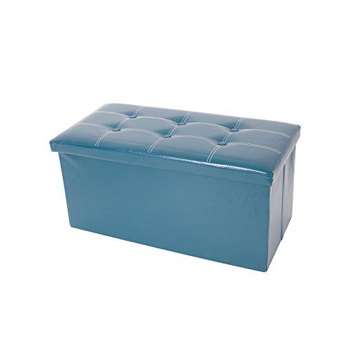 Mobili Rebecca® Pouf Boîte de Rangement Banc Rectangle gagner de l'espace Vert Design Contemporain Salon Chembre 38 x 76 x 38 cm (Cod. RE4904)