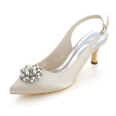 Wuyulunbi@ Scarpe donna raso Primavera Estate della pompa base scarpe matrimonio Punta imitazione di strass perla per il ricevimento di nozze e la sera. Champagne