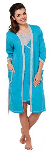 Zeta Ville - Peignoir / Chemise nuit allaitement MÉLANGEZ&COMBINEZ - femme 772c Robe de chambre - Turquoise & Gris
