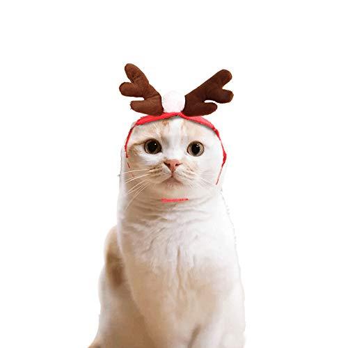 (Haustier Hund Santa Hat Weihnachtsgeschenke für Katze, Kalolary Weihnachten Pet Geweih Hut für Hund Katzen Party Kleidung, Weihnachten Halloween Cosplays Zubehör Urlaub Kostümzubehör)