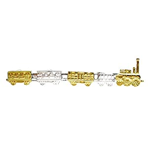 Unbekannt Eisenbahn Krawattenschieber Dampflok mit Waggons teilvergoldet inkl. Box