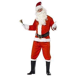 Smiffys-34585XL Disfraz de Santa, con Chaqueta, pantalón, cinturón, Gorro, Guantes y Funda, Color Rojo, XL-Tamaño 46″-48″ (Smiffy'S 34585XL)
