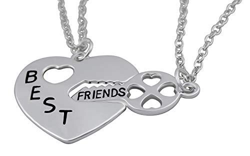 Hanessa Damen-Schmuck 2X Silber Freundschafts-Halsketten für Mädchen Best Friends Beste Freunde Schlüssel zum Herzen Geschenk für die Beste Freundin