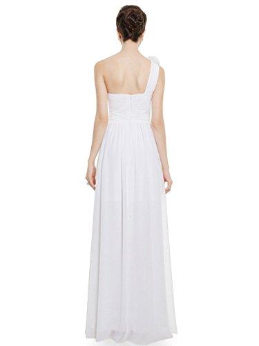 Eudolah Damen Abendkleid Prom Kleid Maxi Bodenlang Chiffon Satin One-Shoulder Bunte A-Linie Schwarz