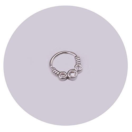 New Damsel 1PC Silber und Gold Farbe Tribal Indian Nose Piercing Septum Ring Cz daith Ohrring-Körper-Schmucksachen, YLBJ748A-2