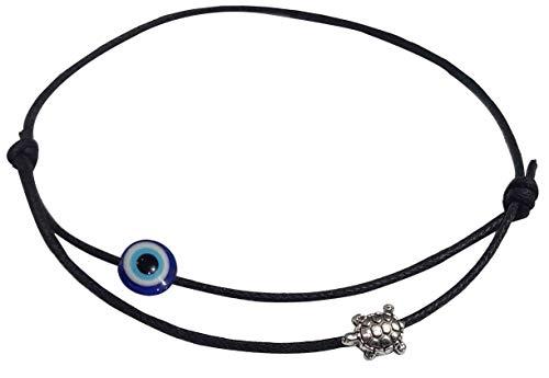 Gurjari Adjustable Black Thread Anklet with Oxidised Hanging for Girls (Evil Eye)