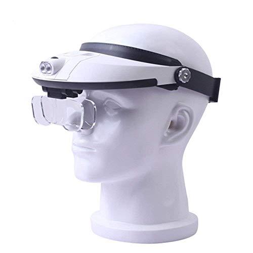 Fangfang GAO magnifier 3.5X Head Mounted Illumination Lupe mit LED-Licht HD Objektiv Schmuck Identifikation Uhr DIY Handwerk Gravur und Restauration 250 * 180mm Weiß ABS-Lupe