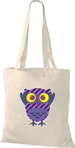 ShirtInStyle Jute Stoffbeutel Bunte Eule niedliche Tragetasche mit Punkte Karos streifen Owl Retro diverse Farbe, blau natur