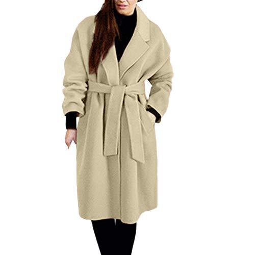 UJUNAOR Frauen Jacke Mantel Herbst Winter Solide Outwear Graben Trenchcoat mit Gürtel(Khaki,CN 3XL)
