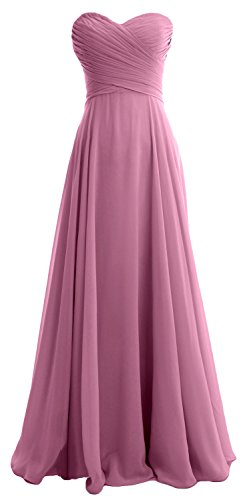 MACloth Elegant Strapless Chiffon Long Bridesmaid Dress Simple Prom Formal Gown Blush Pink