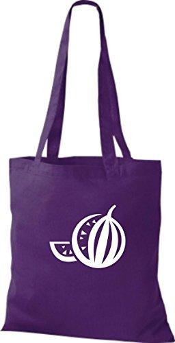 ShirtInStyle Stoffbeutel Baumwolltasche Dein Lieblings Obst und Gemüse Melone Farbe Pink lila