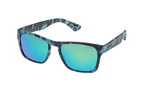 Police trick 2 occhiali da sole, semi matt blue/black/azure camouflage frame/turquoise mirror lens, 54.0 unisex