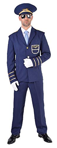 (M217210-4XL blau Herren Piloten Kostüm Uniform Flugkapitän Gr.4XL)