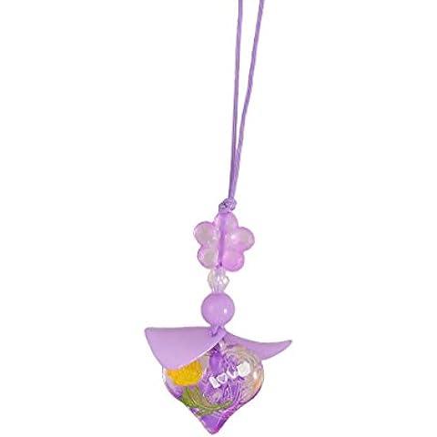 Plástico púrpura de la flor del grano de la hoja del teléfono celular de los colgantes de la forma del encanto de correas