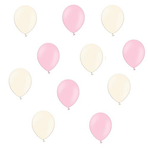 50 x Premium Luftballons je 25 Rosa / Pink & Creme - ca. Ø 28cm - EU WARE nach EN 71 - Ballons als Deko, Party, Fasching, Karneval, Baby...