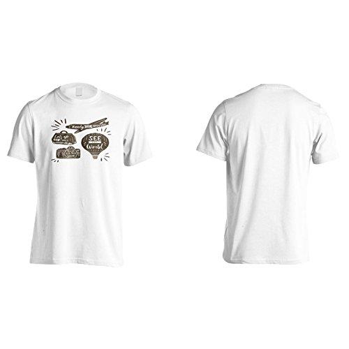 Nuove Etichette Di Quote Di Viaggio Vintage Uomo T-shirt h899m White