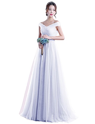 LuckyShe Elegant Lang Tüll Abendkleider Ballkleider für Hochzeit 59# Weiß