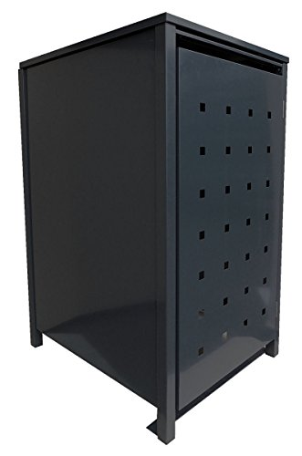 BBT@ | Solide Mülltonnenbox für 1 Tonne je 240 Liter mit Klappdeckel in Schwarz (RAL 9005) / Ohne Stanzung / Aus robustem pulver-beschichtetem Metallblech / Versch. Farben + Blech-Stanzungen erhältlich / Mülltonnen-Verkleidung Müll-Boxen Müll-Container