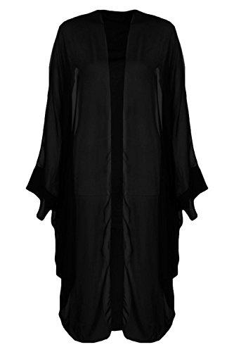 Femmes Noir Amelie Kimono Cocon Surdimensionné En Mousseline De Soie Noir