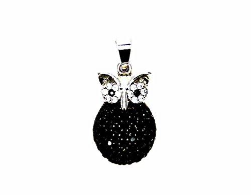 Pegaso gioielli - ciondolo oro bianco 18kt gufo con zirconi bianchi e neri - pendente gufetto donna ragazza bambina