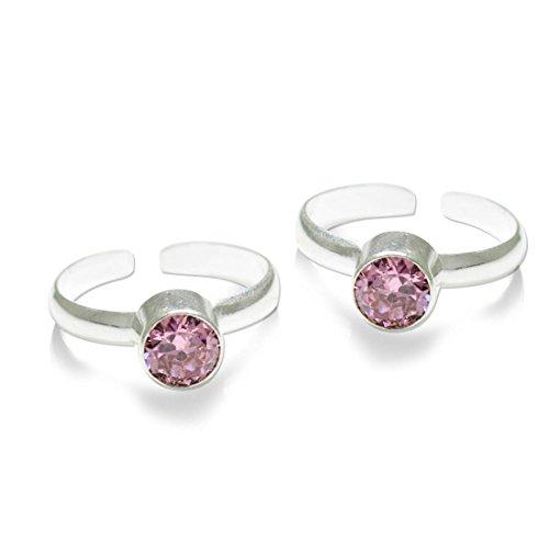 Frabjous Designer Pink Zircon Stone German Silver Toe Ring for Women Rakhi gift for sister  available at amazon for Rs.190
