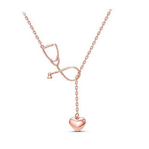 MeiPing Medizin-Stethoskop-Herz-Anfangsalphabet-Halskette Für Doktor Nurse