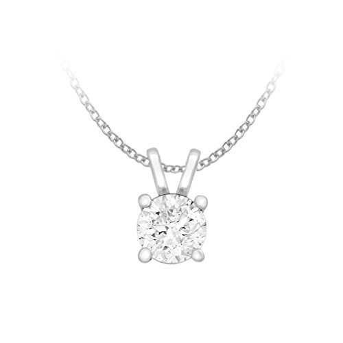 Carissima Gold 9ct White Gold 0.25ct Round Diamond Solitaire Claw Pendant on Trace Chain of 46cm/18