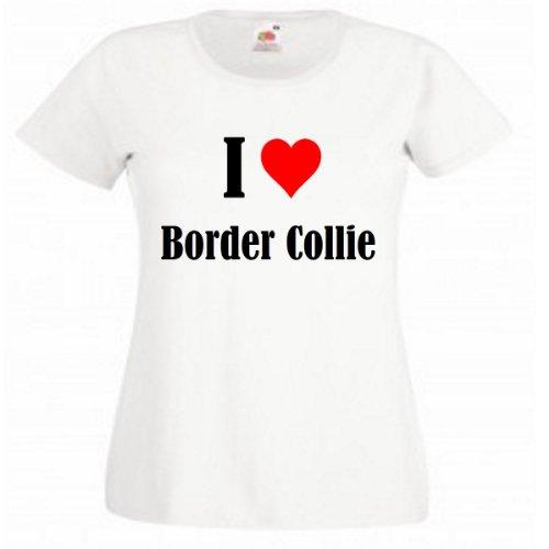 """T-Shirt """"I Love Border Collie"""" für Damen Herren und Kinder in Weiß Weiß"""