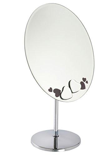 Fancy Metal Goods Ltd - Specchio Ovale da tavolo o da bagno con decorazioni floreali nere e cristalli