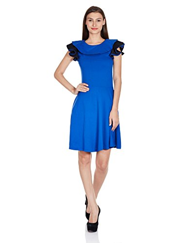 Miss Chase Women's Solid Ruffles Skater Dress (MCAW14D02-69-31_Cobalt Blue_X-Large)