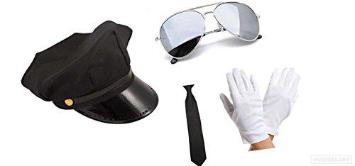 Seemeinthat schwarz Chauffeur-Mütze + Brille + Krawatte und weiße Handschuhe Kostüm Zubehör Celebrity Persönlichen Limo Driver Valet Professional Hochzeit oder Ball Chauffeure Club Ihnen (Weiße Chauffeur Kostüm)