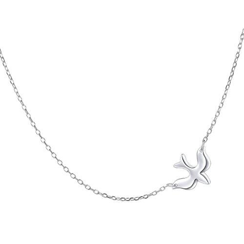 DAOCHONG Seitwärts Vogel Halskette Sterling Silber Tauben Glauben Hoffnung Liebe Choker Frauen Anhänger Halskette, 16 + 2 Zoll