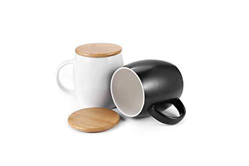 Idebirs Kaffeetassen mit Deckel 12 Unzen, 2er-Pack Keramik-Kaffeetassen in Schwarz und Weiß -
